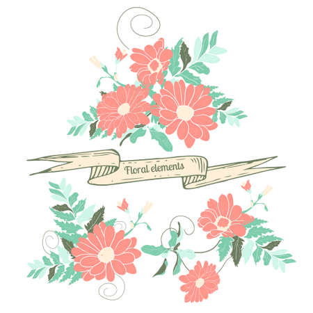 holydays: Hand drawn floral elements. Isolated hand-drawn flowers on white background. Flowers design for weddings, celebrations and holydays Illustration