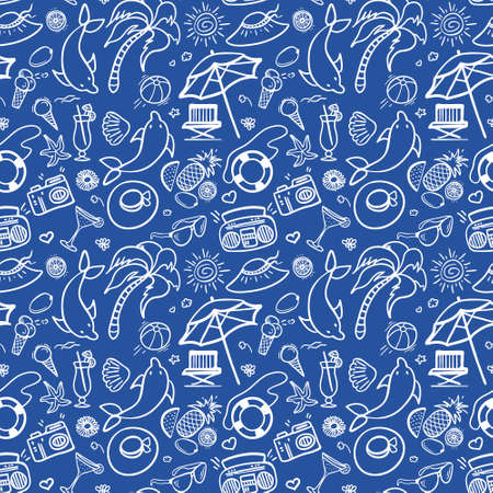 panama hat: Summer holidays seamless pattern. Vector illustration for web, print, textile and advertisment. Hand-drawn summer doodle pattern on blue background.