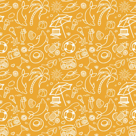 advertisment: Summer holidays sand color seamless pattern. Vector illustration for web, print, textile and advertisment. Hand-drawn summer doodle pattern on yellow background.