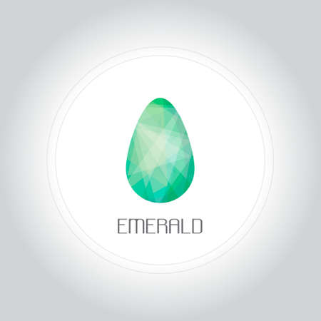 hexagonal shaped: Emerald gem in low lolygon style. Vector illustration for web, company and brand design.