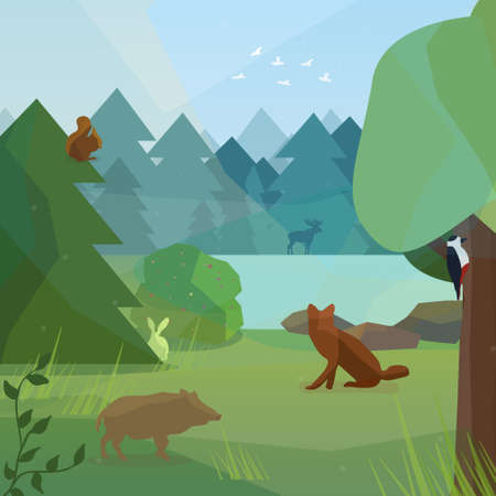 wild web: Wild forest in low polygon style. Vector illustration of forest animals in low polygon style. Boar, woodpecker, fox, rabbit and elk vector illustration for web, mobile and print.