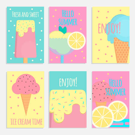 Ice cream posters, banners and cards in flat style. Vector illustration for bars, restaurants, shops and market. Ilustração