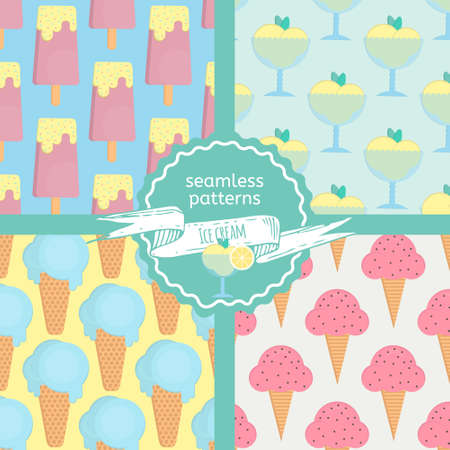 sorbet: Ice cream seamless patterns set in flat style. Patterns with eskimo, ice cream cone and sorbet. Vector illustration for print, textile and menus.