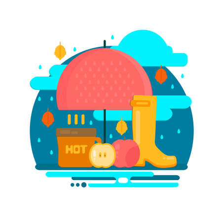 Autumn rain composition in flat style.  Fall illustration with umbrella, hot coffe and rubber boots. Vector flat style concept. Illustration
