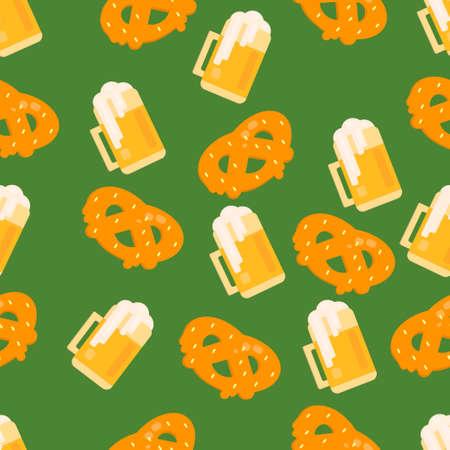 Beer and pretzel pattern. Seamless vector background for festivals, restaurants, menu and bars. Illustration