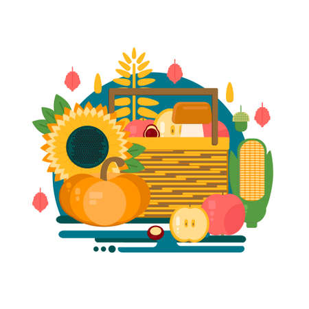 Wooden crate with autumn fruits and vegetables. Vector illustration of autumn harvest in flat style. Background with fresh, natural foods. Cart with product buy in supermarket. Diet and organic food template.