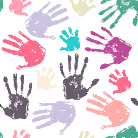 nexus: Family handprint seamless pattern. Colorful background with child, woman and man handprints. Vector illustration.