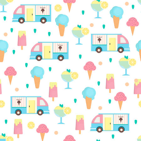 sorbet: Ice cream seamless pattern in flat style. Background with eskimo, ice cream cone and sorbet and ice cream van. Vector illustration for print, textile, wallpaper and menus. Illustration