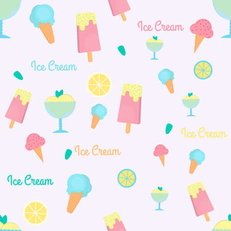 sorbet: Ice cream seamless pattern in flat style. Background with eskimo, ice cream cone and sorbet. Vector illustration for print, textile and menus.