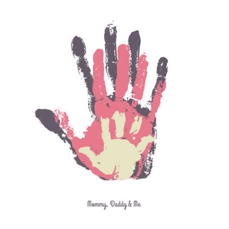 Watercolor handprint of family. Mom, dad and me vector illustration. Handprint of man, woman and child. Illustration