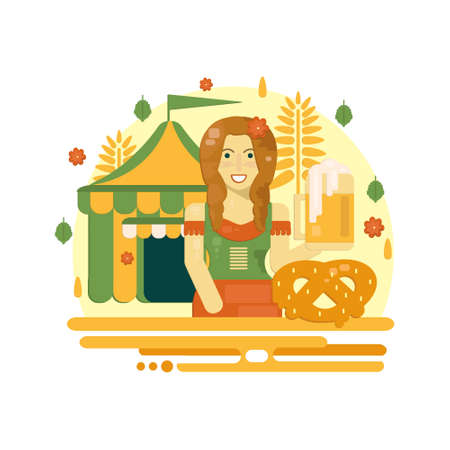 Oktoberfest poster with beer, pretzel, tent and waitress. Octoberfest vector illustration in flat style for festive banners, advertisement and web.