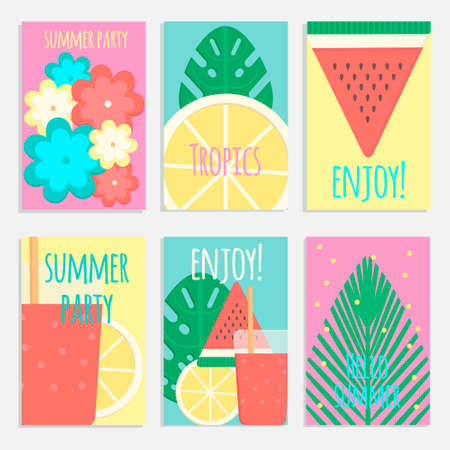 caribbean party: Tropical cocktails with palms posters, banners and cards in flat style. Vector illustration for bars, restaurants, shops, tourism and market.