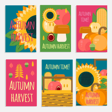 wooden crate: Vector banners of autumn harvest in flat style. Wooden crate with autumn fruits and vegetables.Cards with fresh, natural foods. Cart with product buy in supermarket. Diet and organic food template. Illustration