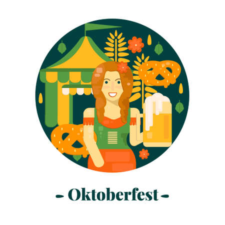 Oktoberfest banner in flat style. Vector illustration for october festival with beer, pretzel, tent and waitress.