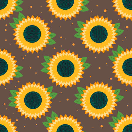 harvest time: Sunflower seamless  pattern. Vector background for autumn harvest time. Pattern for textile, packaging, wallpaper and wrapping.
