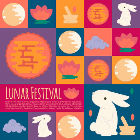 iconos Fiesta del Medio Otoño chino en estilo plano. Vector del festival lunar concepto iconos con conejo, mortero, pastel de luna y la flor de loto para las invitaciones web, móvil, partido. Ilustración de vector