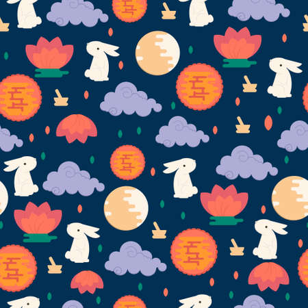 Chinese mid autumn festival seamless pattern. Vector lunar festival concept with rabbit, mortar and pestle, moon cake and lotus flower. Vectores