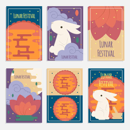 Chinese mid autumn festival banners in flat style. Vector lunar festival concept cards with rabbit, mortar and pestle, moon cake and lotus flower for web, mobile,  party invitations.