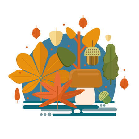 Autumn foliage composition in flat style. Fall theme banner with leaves, mushroom and acorns. Flat vector illustration.