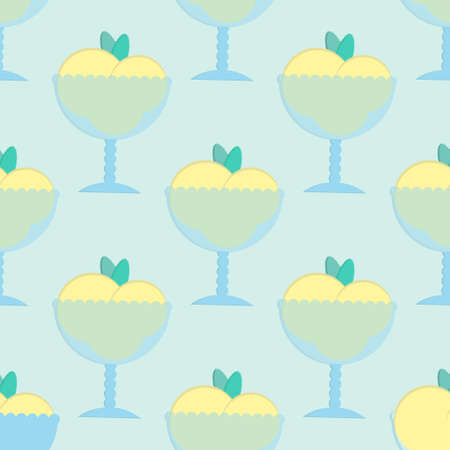 sorbet: Ice cream seamless pattern in flat style. Background with sorbet. Vector illustration for print, textile and menu.