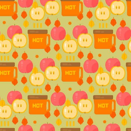 coffe tree: Coffe and apples pattern. Autumn vector background. Backdrop for wrapping, wallpaper, textile. Illustration