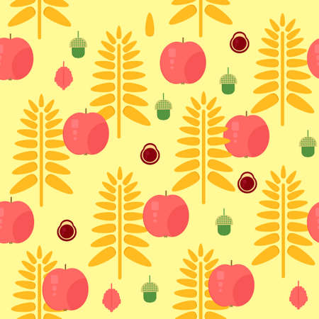 Wheat and apple seamless autumn pattern. Vector background with wheat, apples, nuts and acorns. Backdrop for packaging, market and shop. Illustration