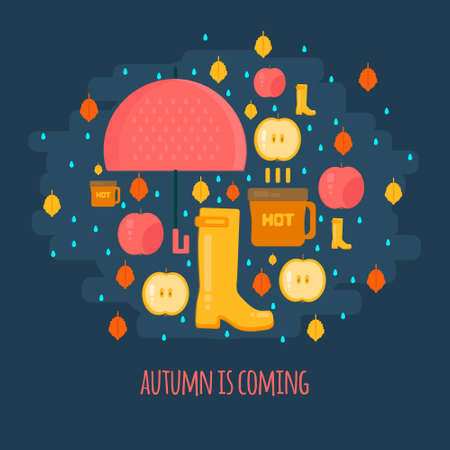Autumn rain composition in flat style.  Fall illustration with umbrella, hot coffe and rubber boots. Vector flat style concept. Vettoriali