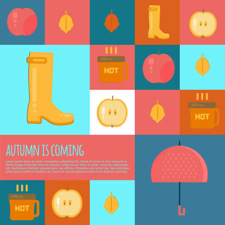 rubber boots: Autumn stuff  icons in flat style. Vector fall rain concept icons with dry fall leaves, umbrella, rubber boots and hot coffe for web, mobile,  party invitations, sale, advertising.