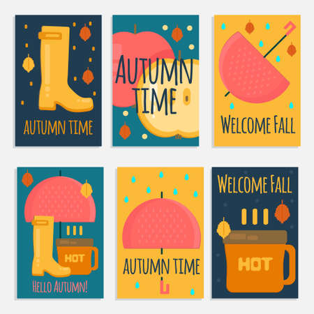 rubber boots: Autumn stuff  banners in flat style. Vector fall rain concept cards withdry fall leaves, umbrella, rubber boots and hot coffe for web, mobile,  party invitations, sale, advertising.