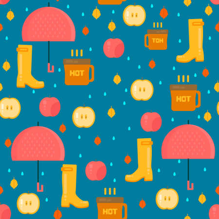 Autumn stuff pattern. Vector background with dry fall leaves, umbrella and rubber boots. Illustration for autumn sales, advertisement, party invitations. Illustration