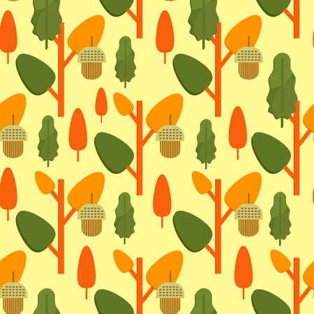 Autumn foliage concept seamless pattern. Fall theme background with leaves and acorns in flat style. Flat vector illustration. Illustration
