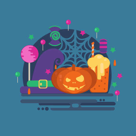 punch: Halloween party concept in flat style. Vector composition with pumpkin head, punch, spider web, witch hat, candies and lollipop.