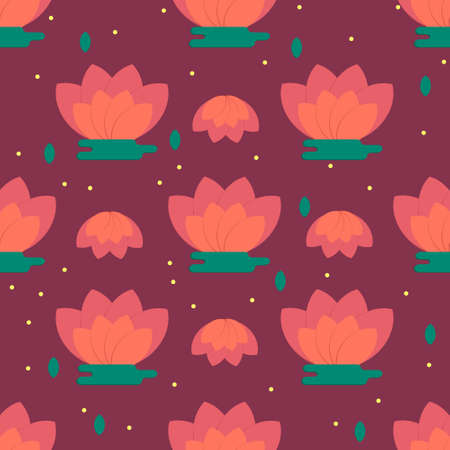 flower room: Childrens room decoration pattern with chinese lotus flowers. Colored flower background for wallpaper, decoration, textile.