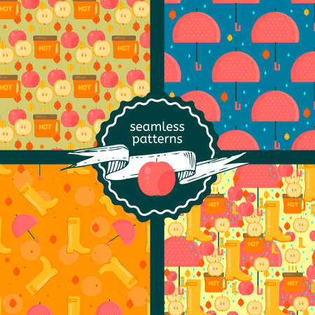 Set of autumn stuff patterns.Vector backgrounds with dry fall leaves, umbrella and rubber boots. Illustrations for autumn sales, advertisement, party invitations.
