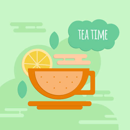 five o'clock: Five oclock tea flat style concept. Tea time banner for coffeshops, restaurants, cafeteria and menu.