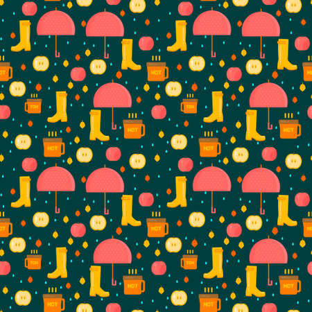rubber boots: Autumn stuff pattern. Vector background with dry fall leaves, umbrella and rubber boots. Illustration for autumn sales, advertisement, party invitations. Illustration