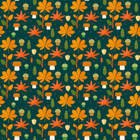 leafage: Autumn foliage seamless pattern. Fall theme background with leaves, mushroom and acorns in flat style. Flat vector illustration.