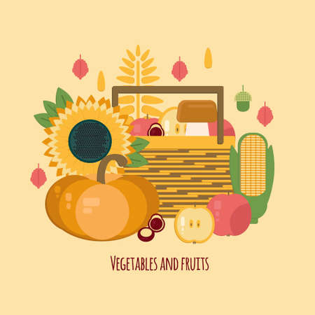 wooden crate: Wooden crate with autumn fruits and vegetables. Vector illustration of autumn harvest in flat style. Background with fresh, natural foods. Diet and organic food template.