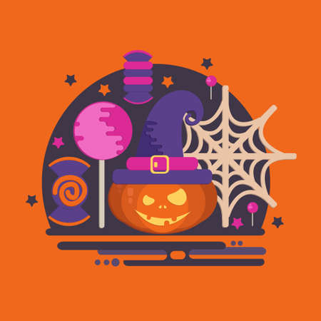 Halloween party concept in flat style. Vector composition with pumpkin head, spider web, witch hat, candies and lollipop.