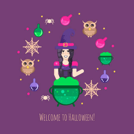 hag: Witches cauldron halloween composition. Halloween poster with witch, owl, cauldron, magic potions, candles and spider web. Illustration