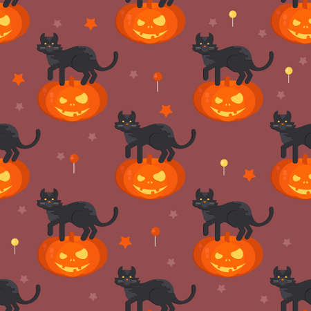 Halloween pumpkin head with black cat seamless pattern. Halloween background for shops, wrapper, gift wrap, textile, party banners and wallpaper. Illustration