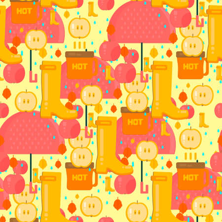 rubber boots: Autumn stuff pattern. Vector background with dry fall leaves, umbrella, hot coffe, apples and rubber boots. Illustration for autumn sales, advertisement, party invitations.