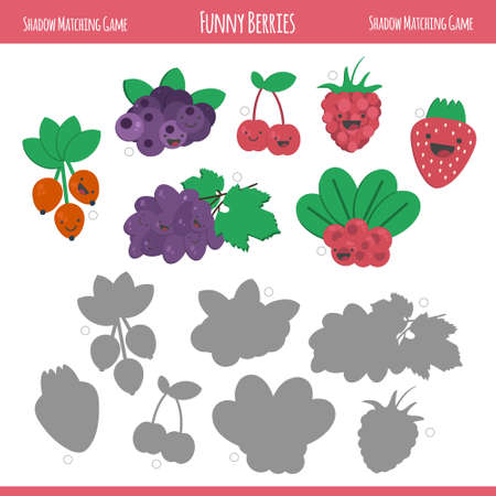 developmental: Matching game with berries for preschool children. Find the correct shadow. Funny berries in flat style isolated on white background. Vector illustration for children.