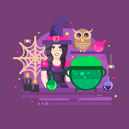 magic cauldron: Witches cauldron halloween composition. Halloween poster with witch, owl, cauldron, magic potions, candles and spider web. Illustration