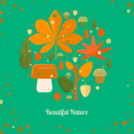 Autumn foliage composition in circle shape. Fall theme banner with leaves, mushroom and acorns in flat style. Flat vector illustration. Illustration