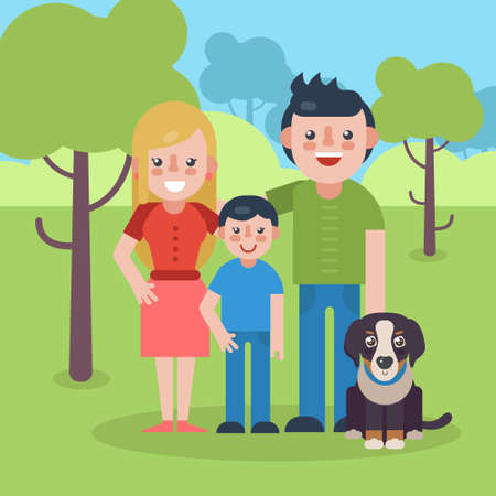 bernese: Young parents flat vector illustration. Young family with dog on natural park background. Mother, father and son flat illustration. Illustration