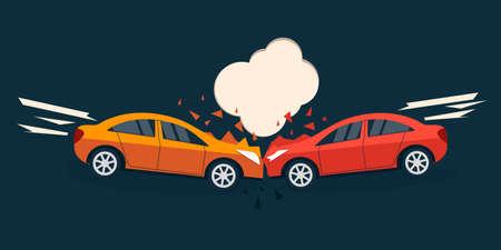 situación de la carretera accidente. accidente de coche estilo cómico ilustración vectorial. accidente de coche diseño plano. bandera accidente de coche.