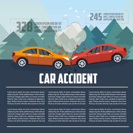 Car accident infographics. Car crash template flat style. Vector illustration.