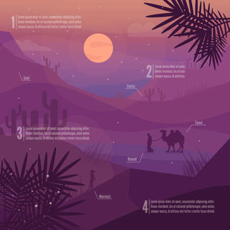 sand dunes: Desert landscape. Desert infographics with animals. Night desert with moon. Sunset in desert. Cactus, mountains and animals silhouettes. Saudi Arabia landscape.  Low polygon vector.