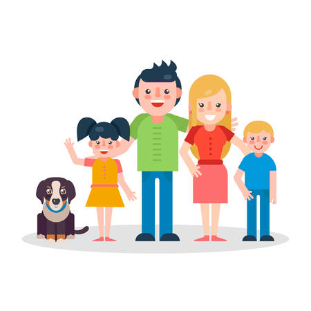 bernese: Young parents flat vector illustration. Mother, father, sister and brother with dog on white background. Big family flat illustration.